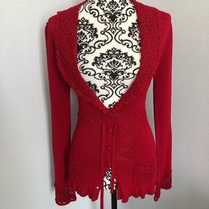 Nanette LePore Form Fitting Red Cardigan